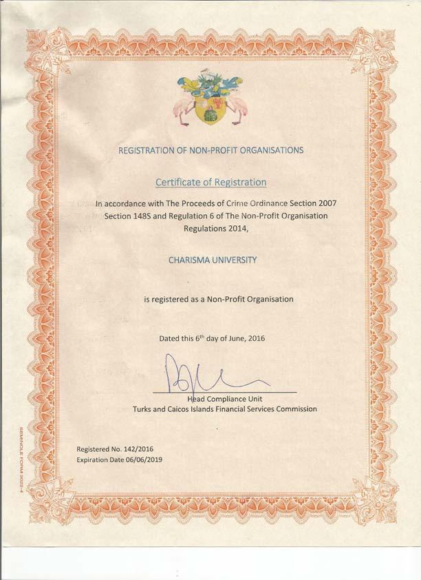 Non Profit Certificate Charisma University