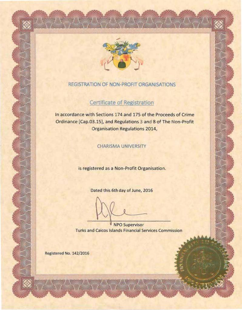 Charisma University Certificate of Registration image